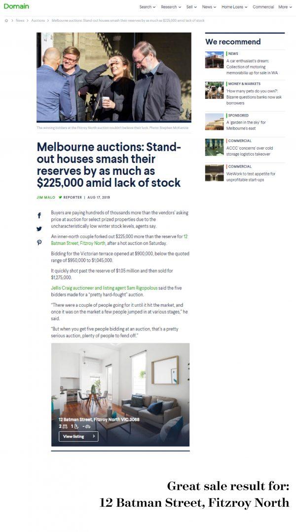 Reserve smashed by $225,000