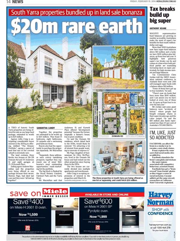 Historic South Yarra Property Trio Worth Up To 20m For Sale